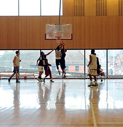Basketball can be played on Campus