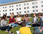 Students on UEA campus