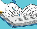 Illustration of student writing