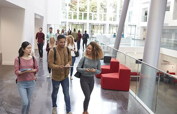 students walking through university on an open day
