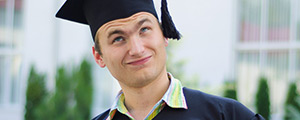 Thoughtful student wearing a mortar board