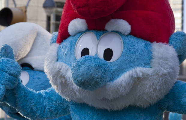 person dressed as a smurf