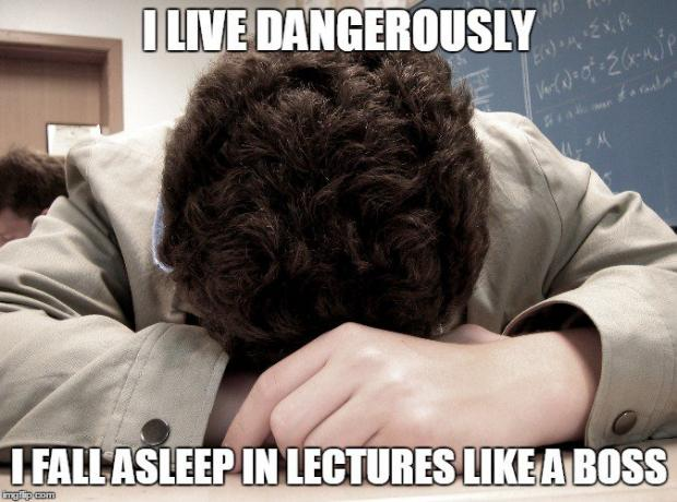 Fall asleep in a lecture