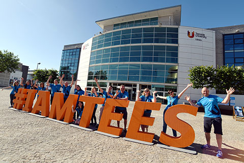 Teesside University staff and students enjoy the weather at the summer open day