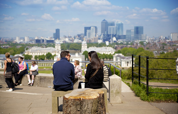 students looking out on london view