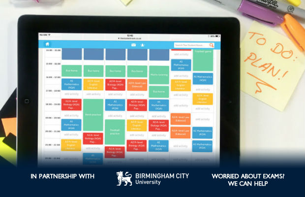 Revision timetable on an ipad