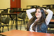 Female student happy