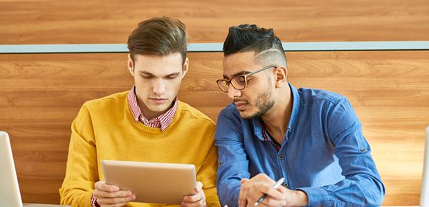 students chatting