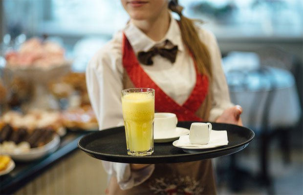 waitress with a tray