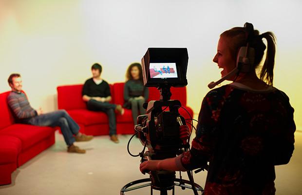 Students working in TV studio