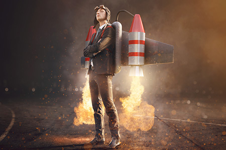 young man with jetpack on