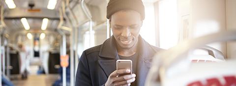 Student on public transport mobile