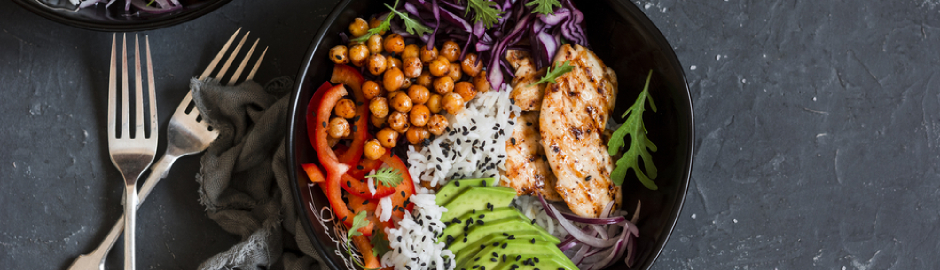Grilled chicken, rice, spicy chickpeas, avocado, cabbage, pepper Buddha bowl