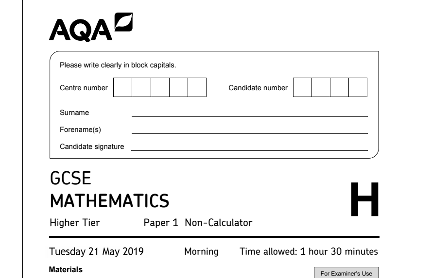 Front page of fake AQA paper