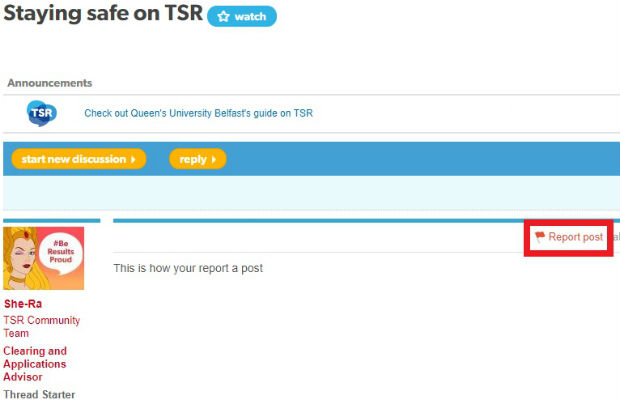 Reporting a post on TSR