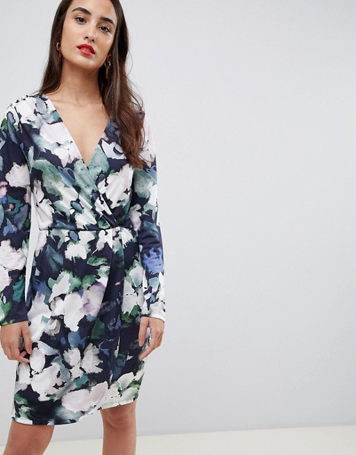 French Connection patterned wrap dress