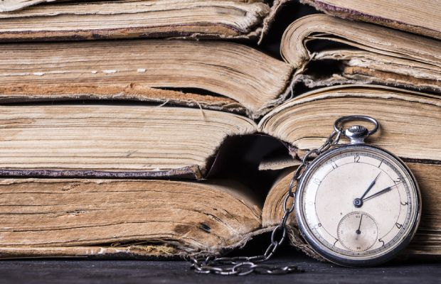 Old books and a pocketwatch