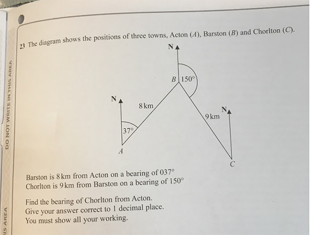 Maths question from Pearson exam paper