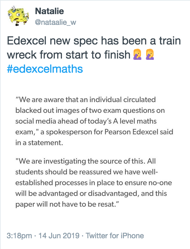 Edexcel Maths Paper 3 2019 exam leak: more reactions from A