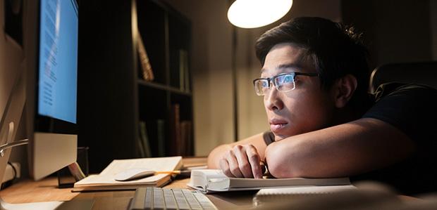 student staring at screen
