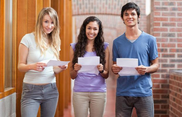 Students with their A-level results