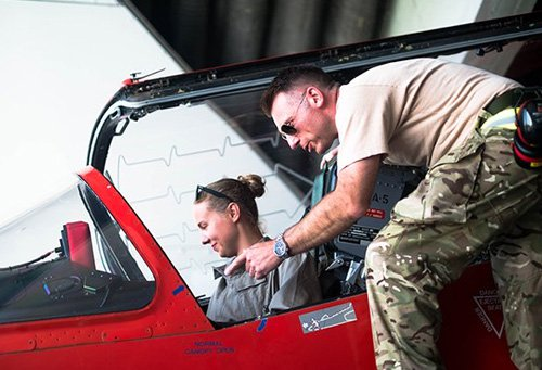 RAF personnel sitting in a cockpit with an instructor standing behind