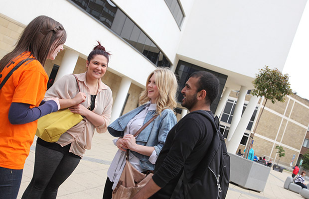 students on a university open day
