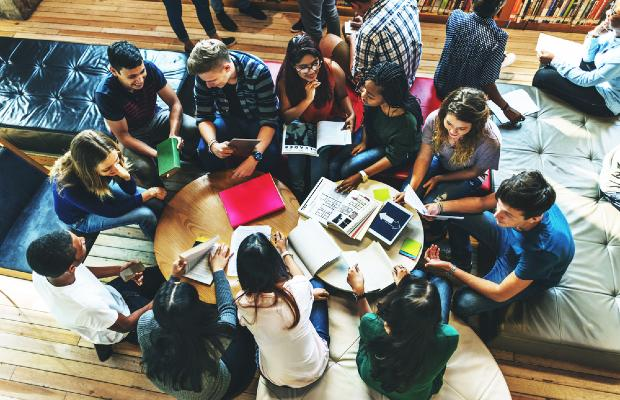 group of students working