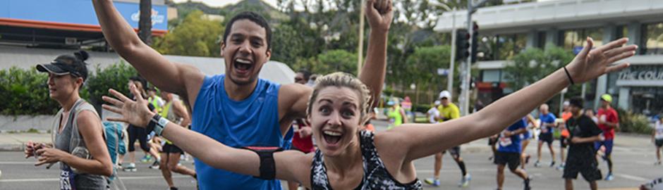 Runners finishing a race