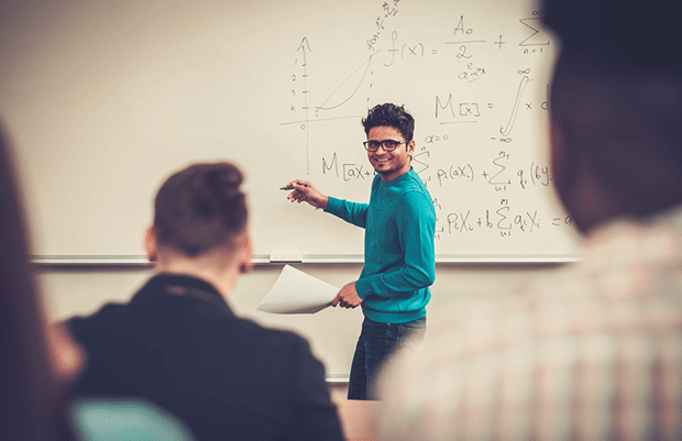 student leading a lecture
