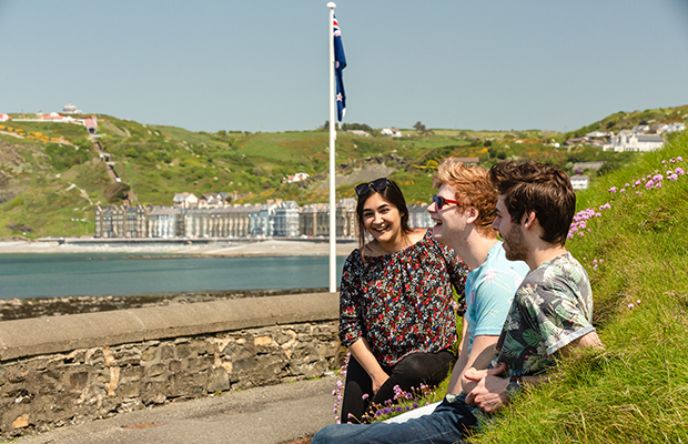 students on the prom at aberystwyth