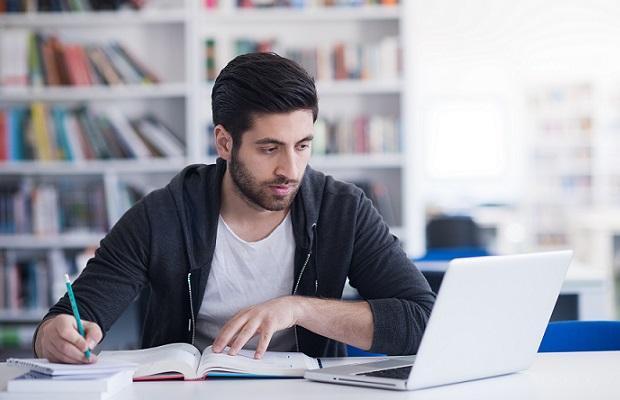 student revising