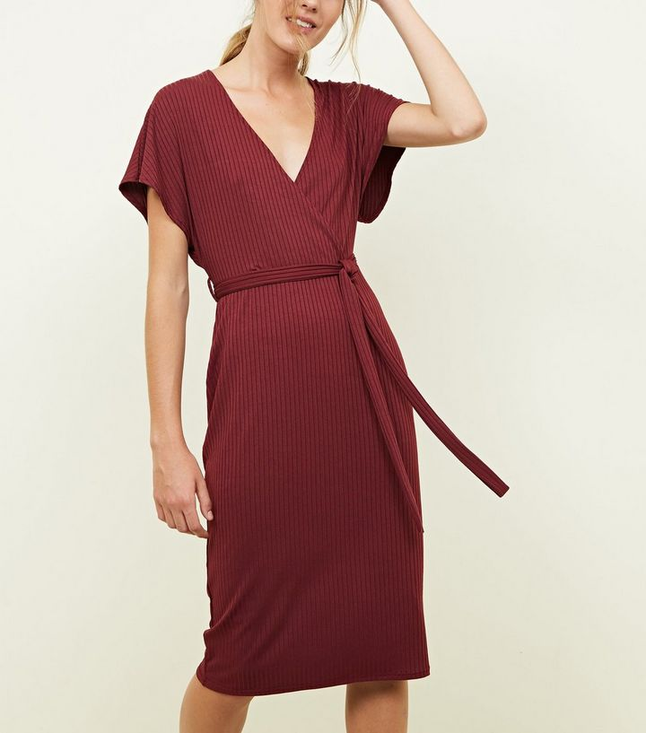 New Look plum wrap dress