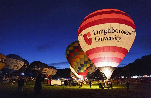 Hot air balloon with Loughborough University logo