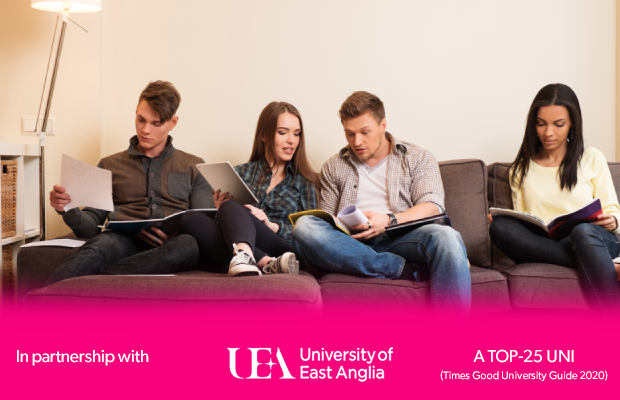 students sitting together on the sofa