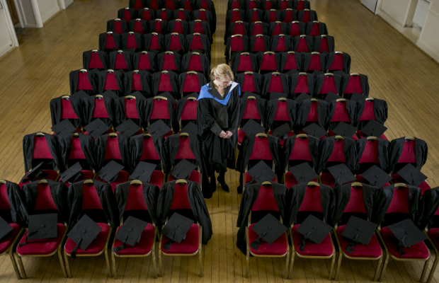 Seats of silence: Raising awareness on University Mental Health Day, The Student Room lay out 95 graduation gowns for every university student lost to suicide in the space of one year