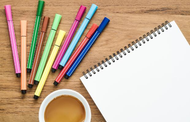 colourful stationary on a desk
