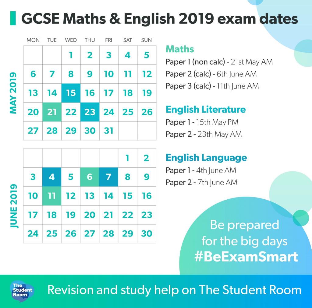 GCSE Maths and English exam dates 2019