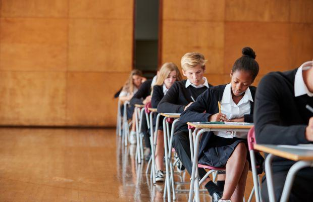 students sitting in exam hall