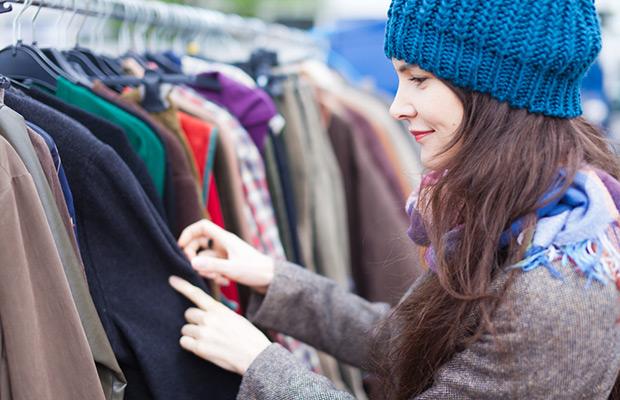 student shopping at flea market