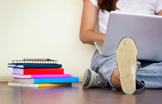 Student laptop close up