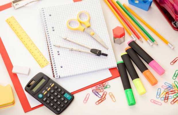 Calculator, pair of compasses, pencils and other stationery