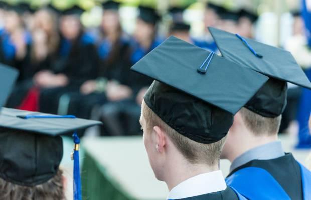 Graduates in mortarboards