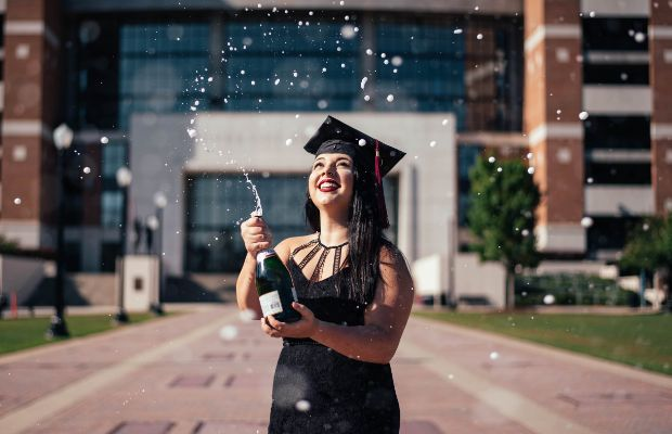 Young woman celebrating her graduation