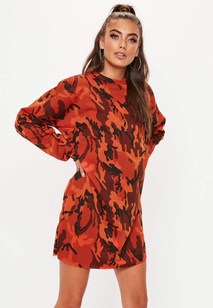 Missguided red camo dress