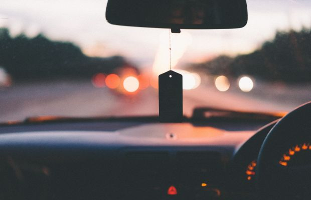 Looking out over a car dashboard