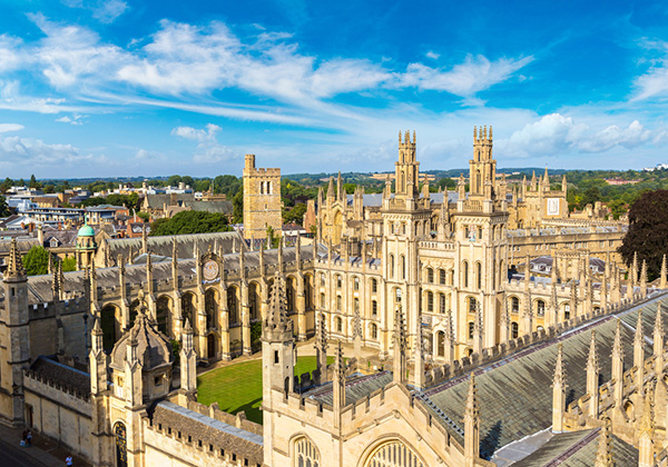 Oxford University aerial view