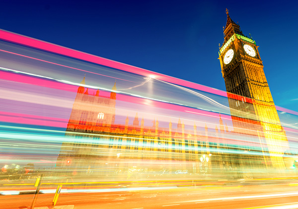 Westminster with light trails