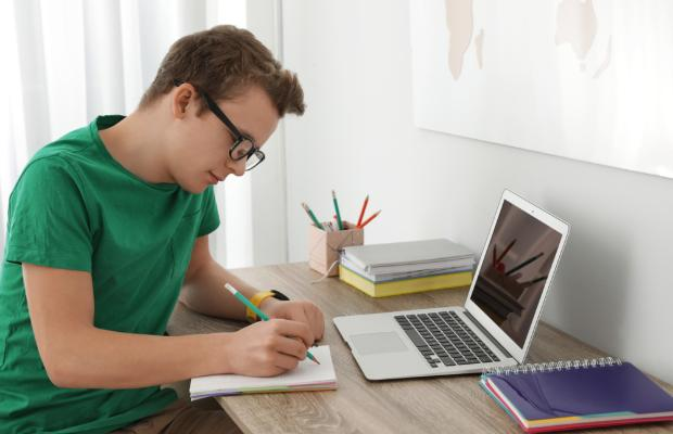 boy studying at his desk