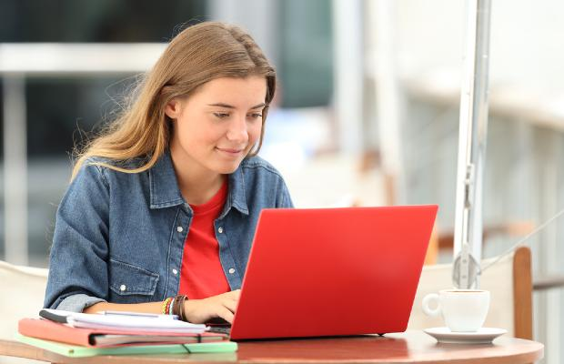 student working at laptop